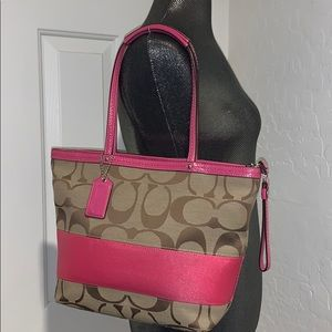 COACH Signature Stripe TOTE bag Khaki Pink F13548